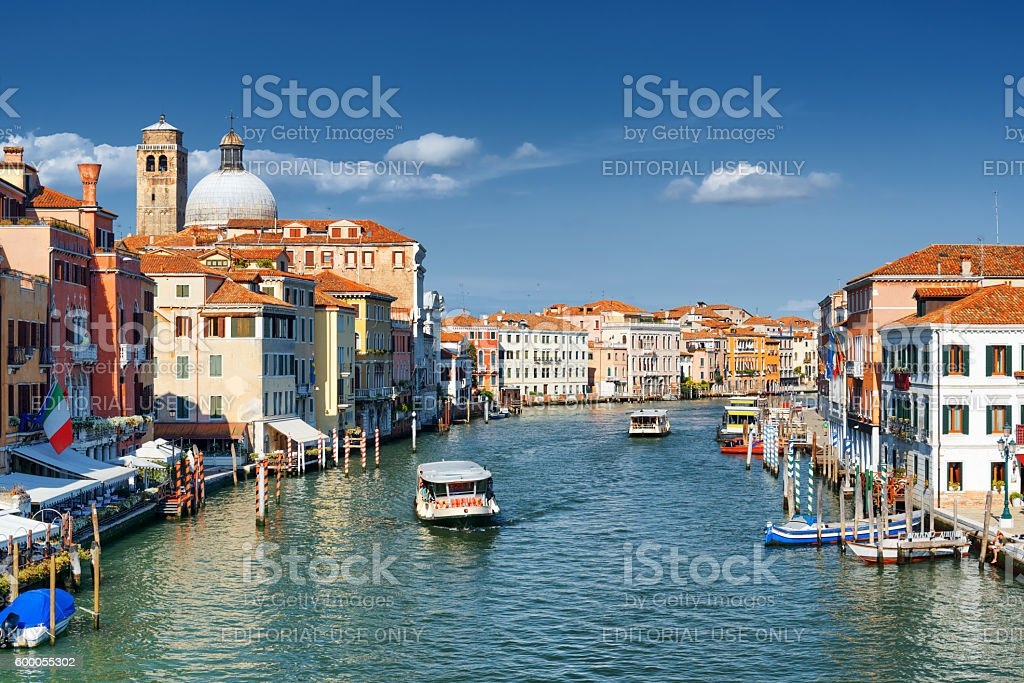 View of the Grand Canal and the Church San Geremia stock photo