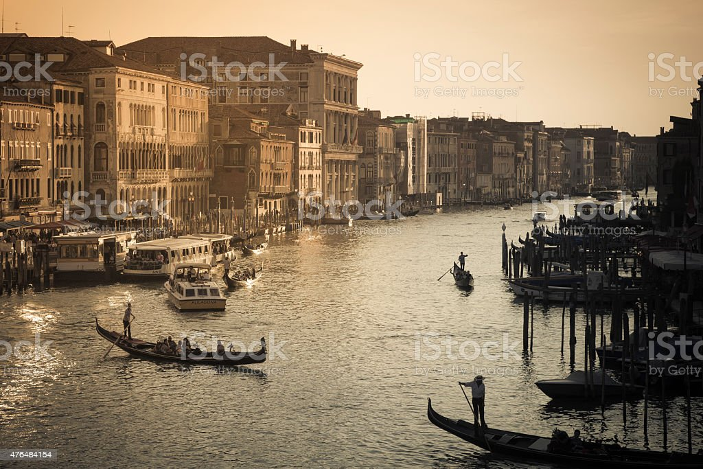 View of the Grand Canal at sunset, Venice, Italy stock photo