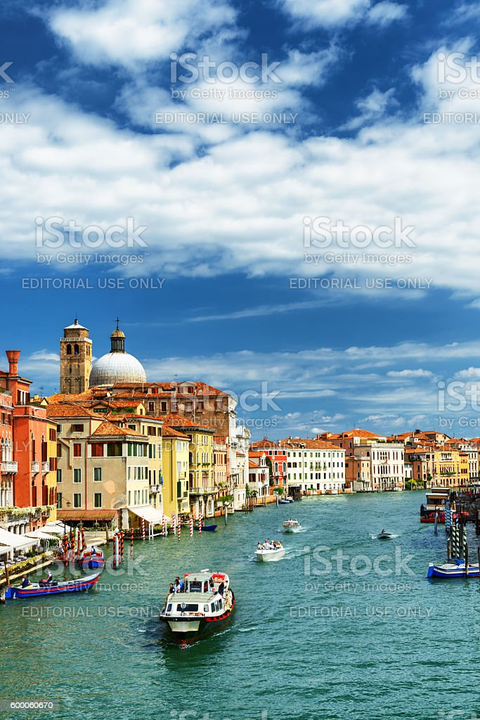 View of the Grand Canal with water taxi in Venice stock photo