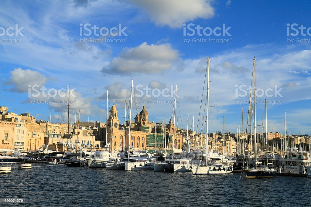 View of the Grand harbor and Fort Saint Angelo stock photo