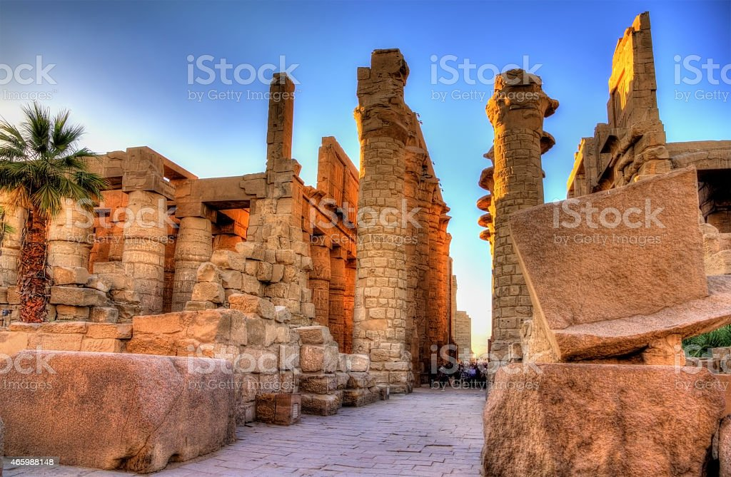 View of the Great Hypostyle Hall in at Karnak stock photo