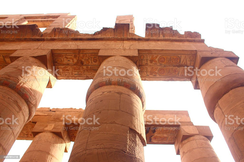 View of the Great Hypostyle Hall in Karnak's temple stock photo