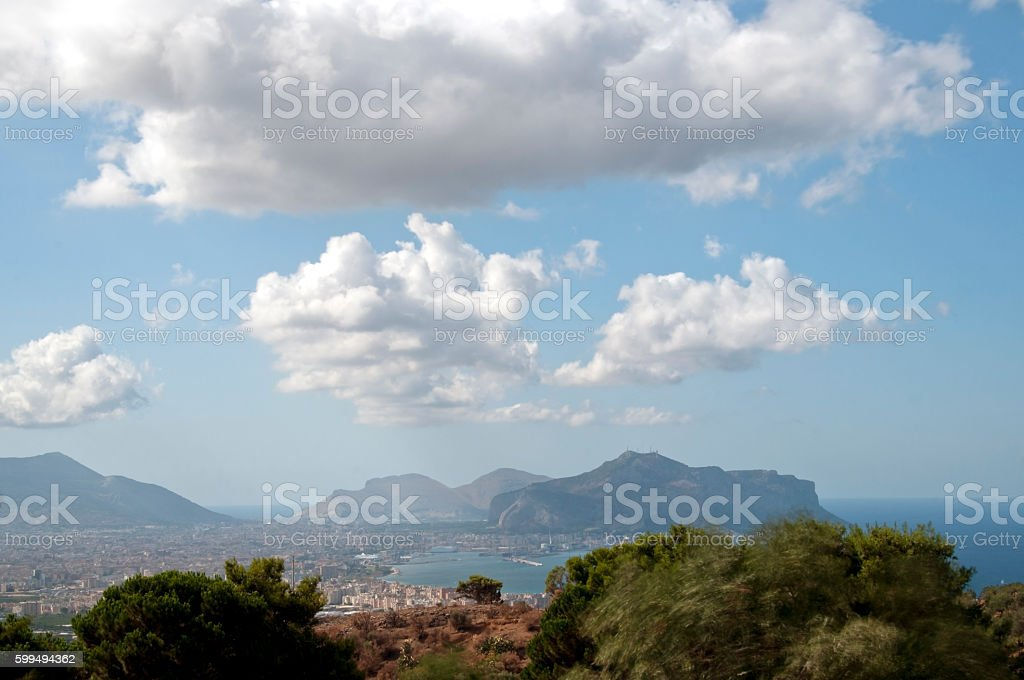 View of the Gulf of Palermo stock photo