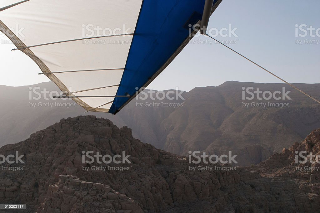View of the Hajar Mountains from a Microlight, Musandam, Oman stock photo