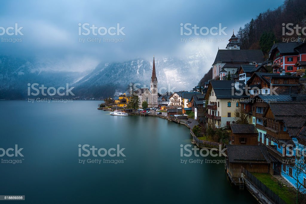 View of the Hallstatt from lake Hallstater see, Astria stock photo