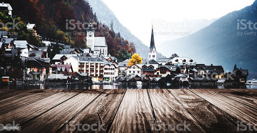 View of the Hallstatt town on the lake stock photo