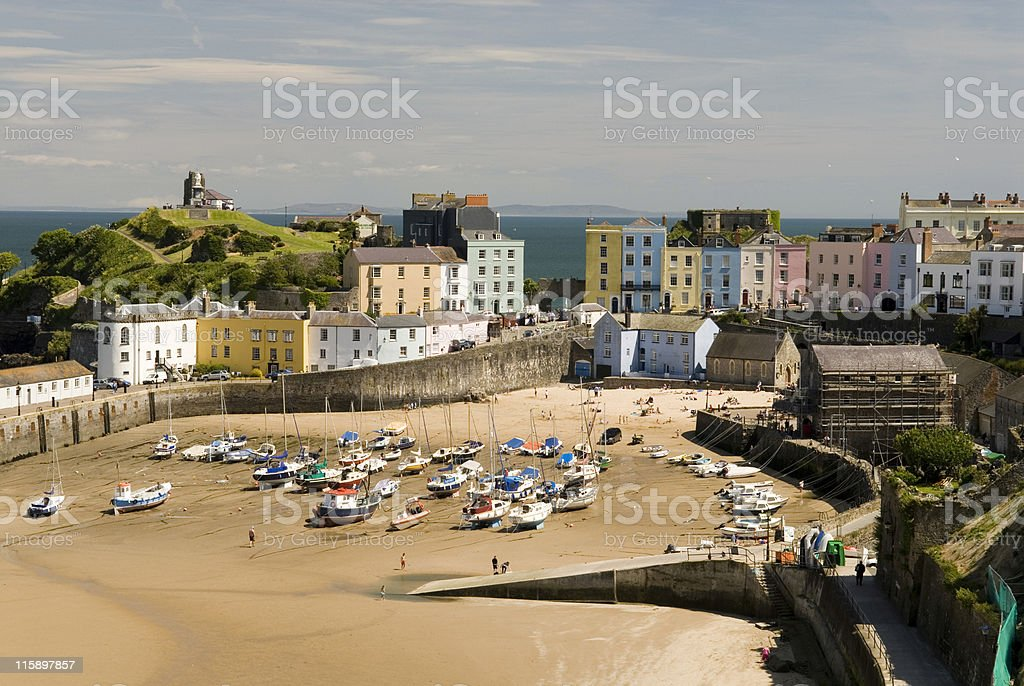 View of the harbor at Tenby in Wales stock photo