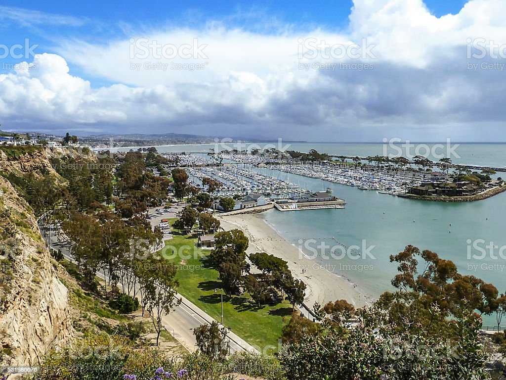 view of the harbor from Heritage Park in Dana Point stock photo