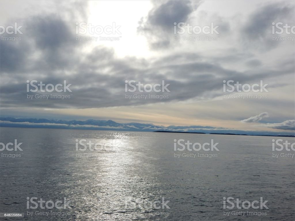 View of the Haro Strait from San Juan Island stock photo