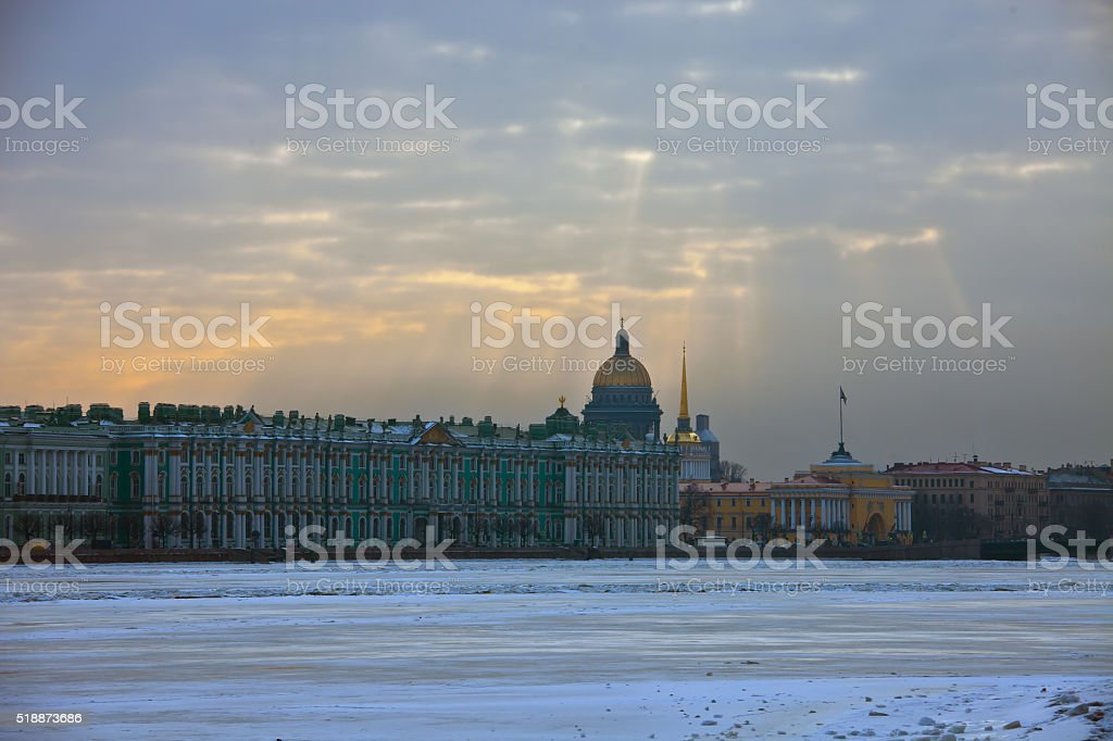 View of the Hermitage, the Winter Palace stock photo