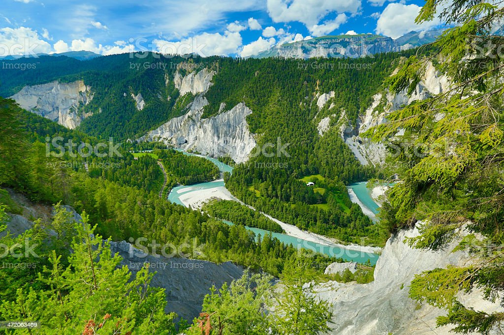 View of the high rhine canyon nearby Flims stock photo