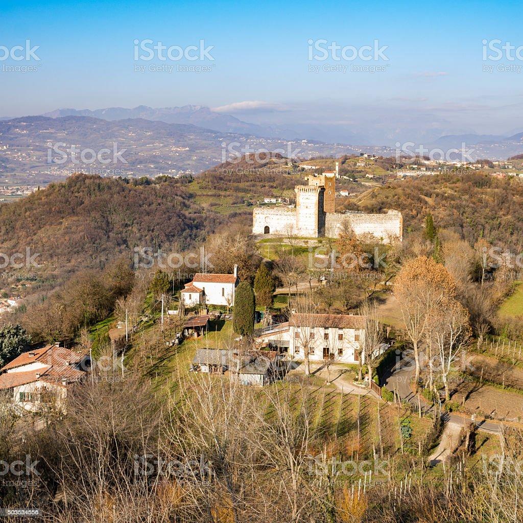View of the hills of Montecchio Maggiore (Vicenza, Italy). stock photo