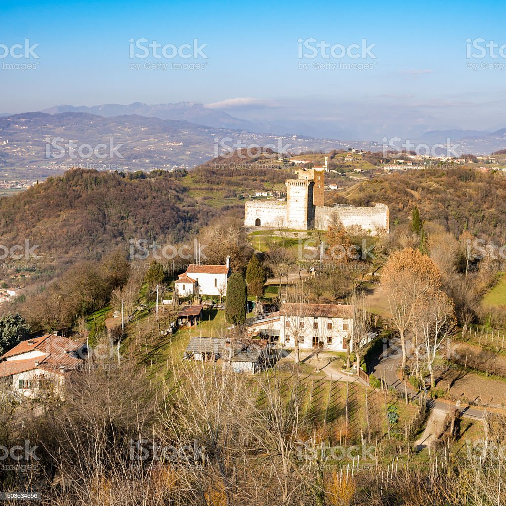 View of the hills of Montecchio Maggiore (Vicenza, Italy). stock photo