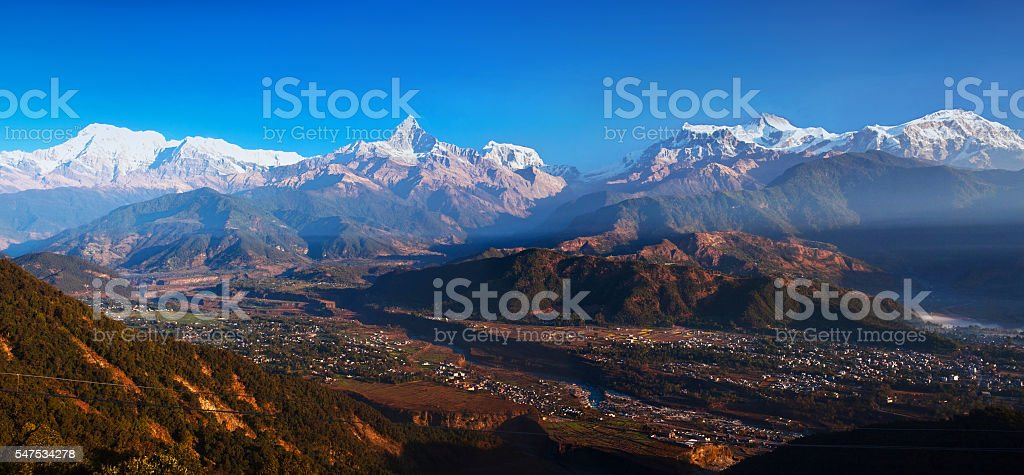 View of the Himalayan mountains from Sarangkot hill, Pokhara stock photo
