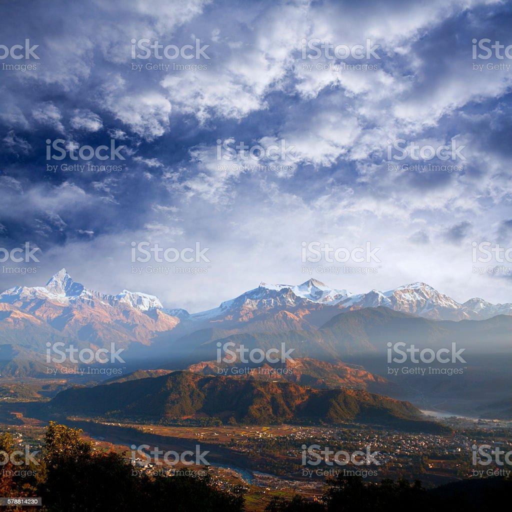 View of the Himalayan mountains from Sarangkot hill, Pokhara stock photo