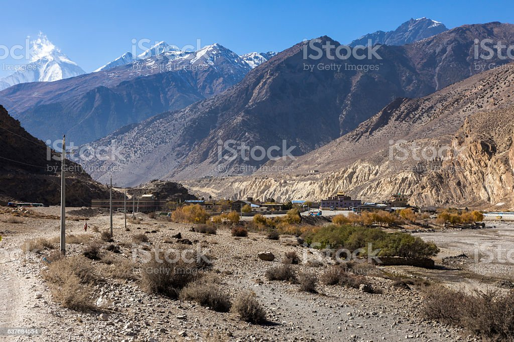 view of the Himalayas and village Jomsom stock photo