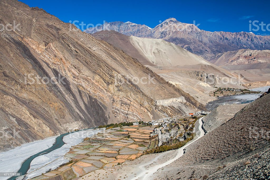 view of the Himalayas surrounded the village Kagbeni stock photo