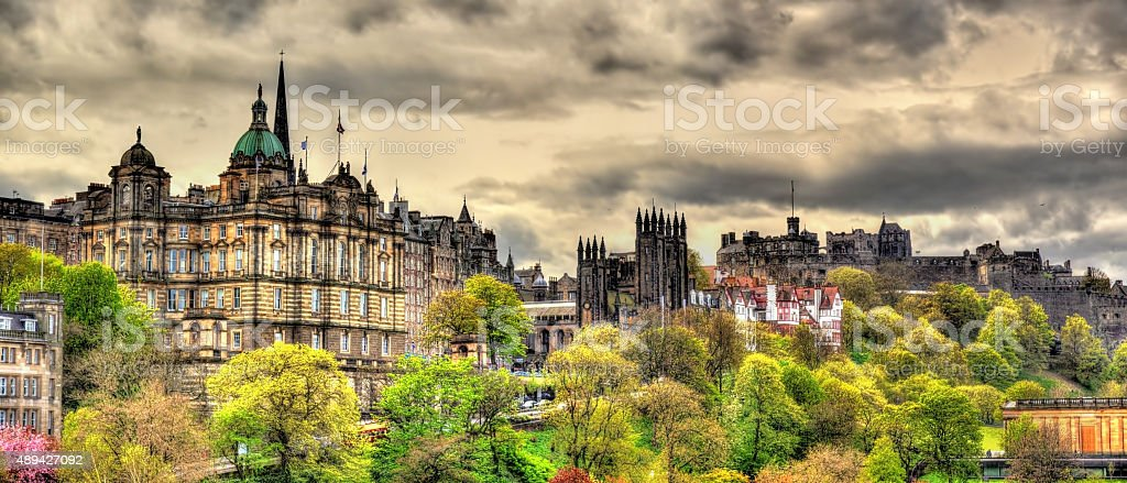 View of the historic centre of Edinburgh - Scotland stock photo