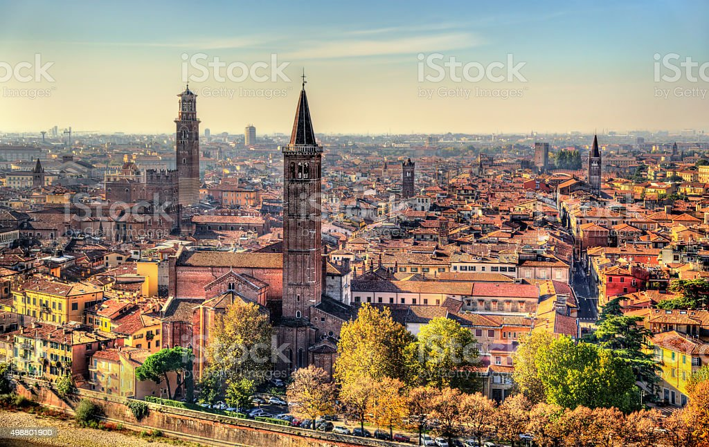 View of the historic centre of Verona - Italy stock photo