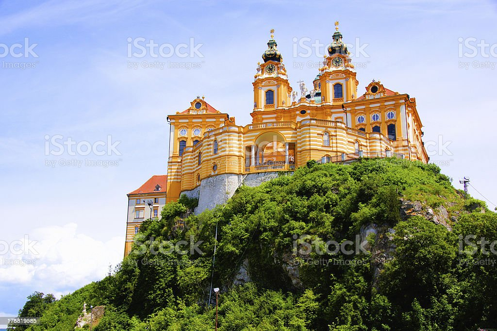 View of the historic Melk Abbey, Austria stock photo
