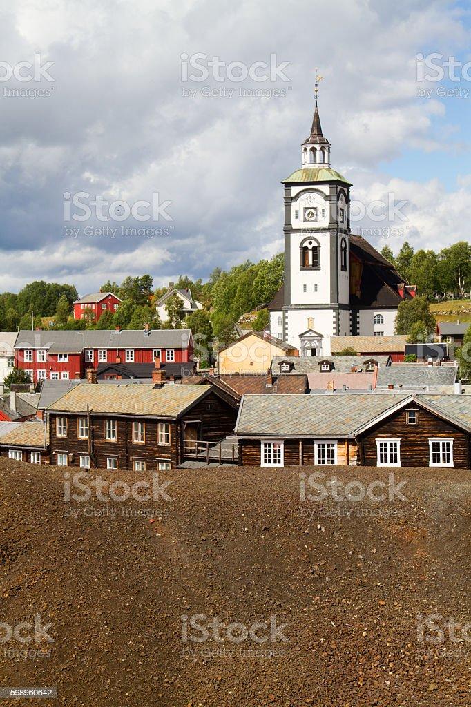 View of the historic Norwegian mining town Røros stock photo
