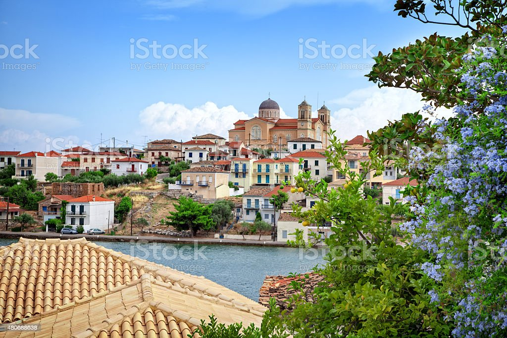 View of the historic scenic town of Galaxidi in Greece stock photo