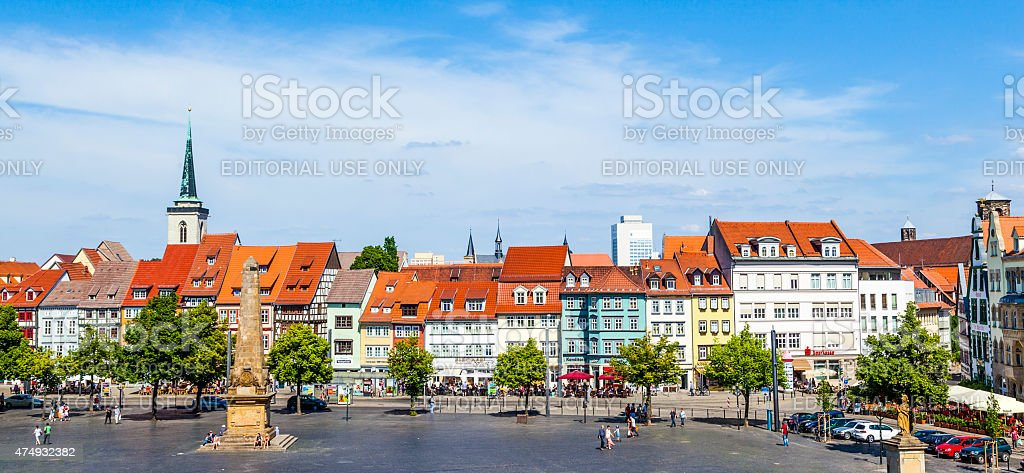 view of the historical city centre of Erfurt, Germany stock photo