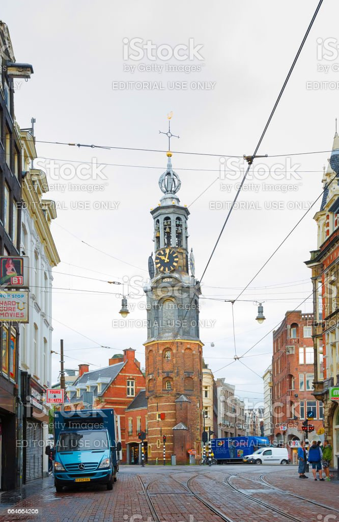 View of the Historical tower Munttoren in Amsterdam stock photo