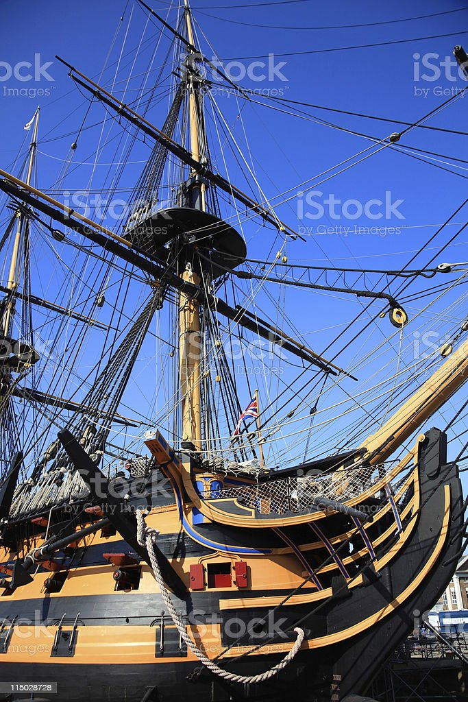 View of the HMS Victory showing the mast stock photo