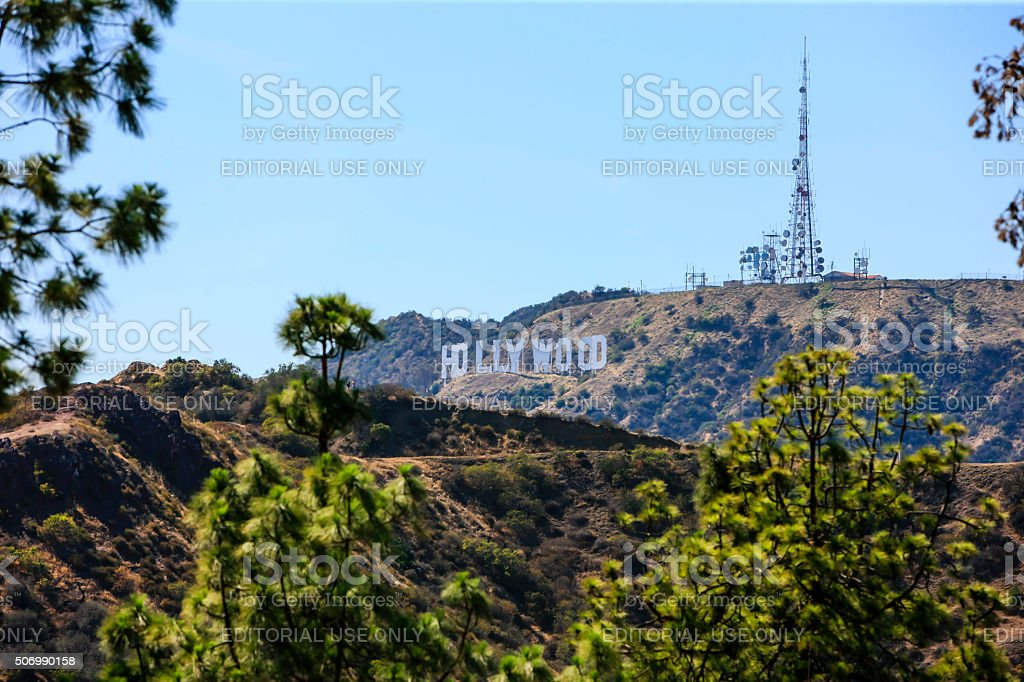 View of the Hollywood sign in Los Angeles California stock photo