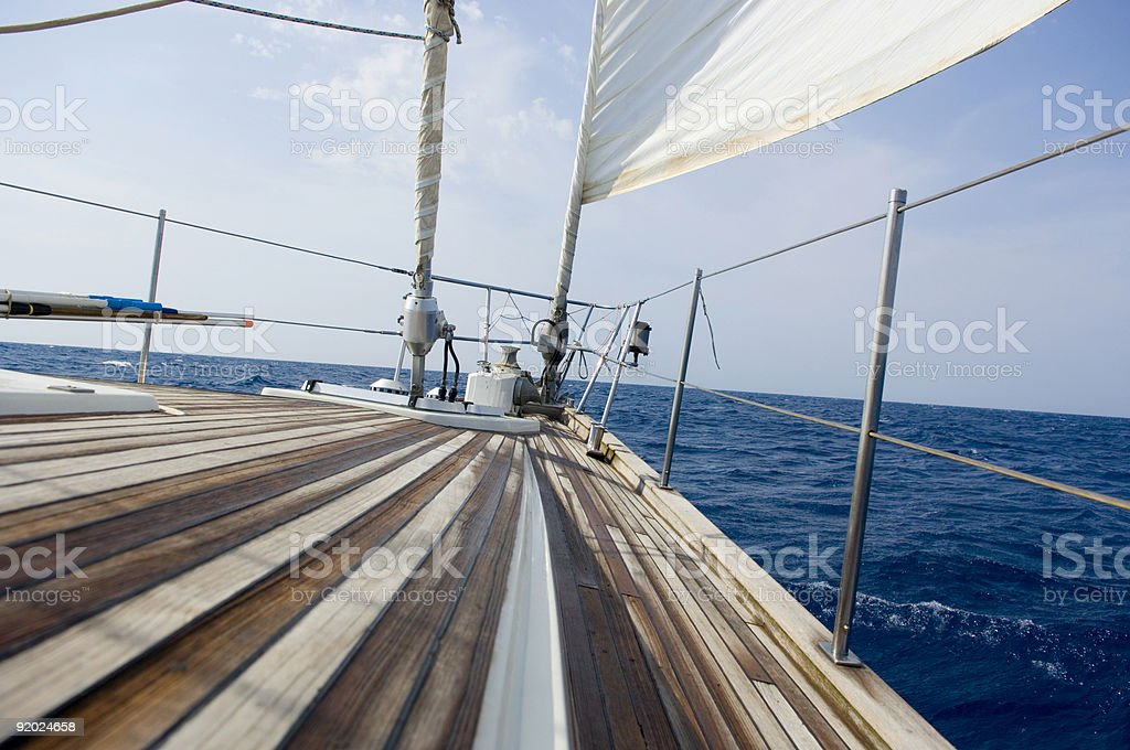 A view of the horizon from a boats deck royalty-free stock photo