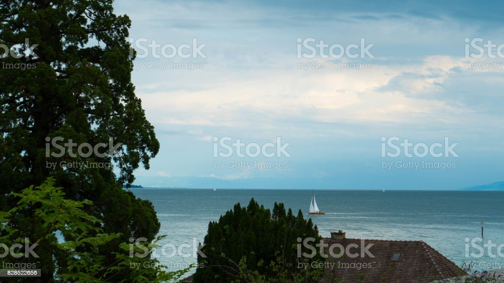 A view of the horizon of the Bodensee of Austria from the side of Germany. stock photo