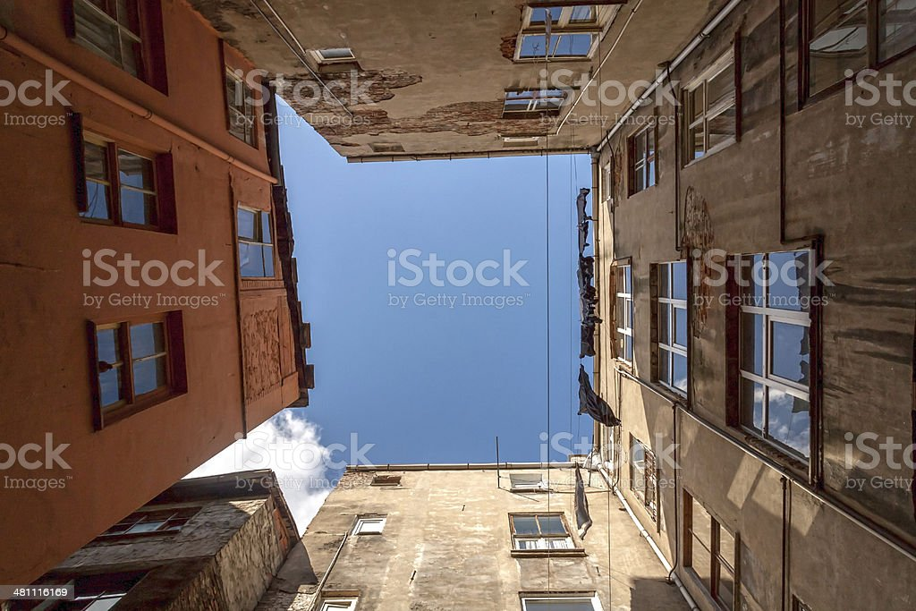view of the houses  and sky from bottom stock photo