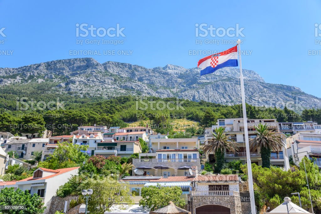 View of the houses is an apartment spread out on a mountain in the resort town of Brela, Croatia stock photo