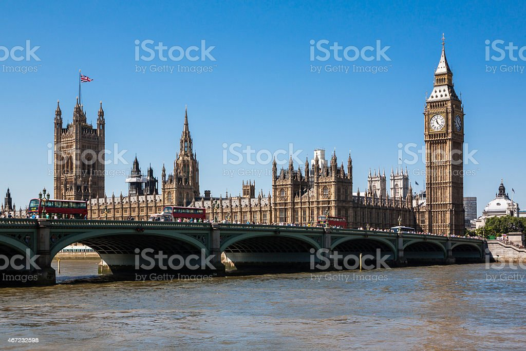 A view of the Houses of Parliament and Big Ben in London stock photo