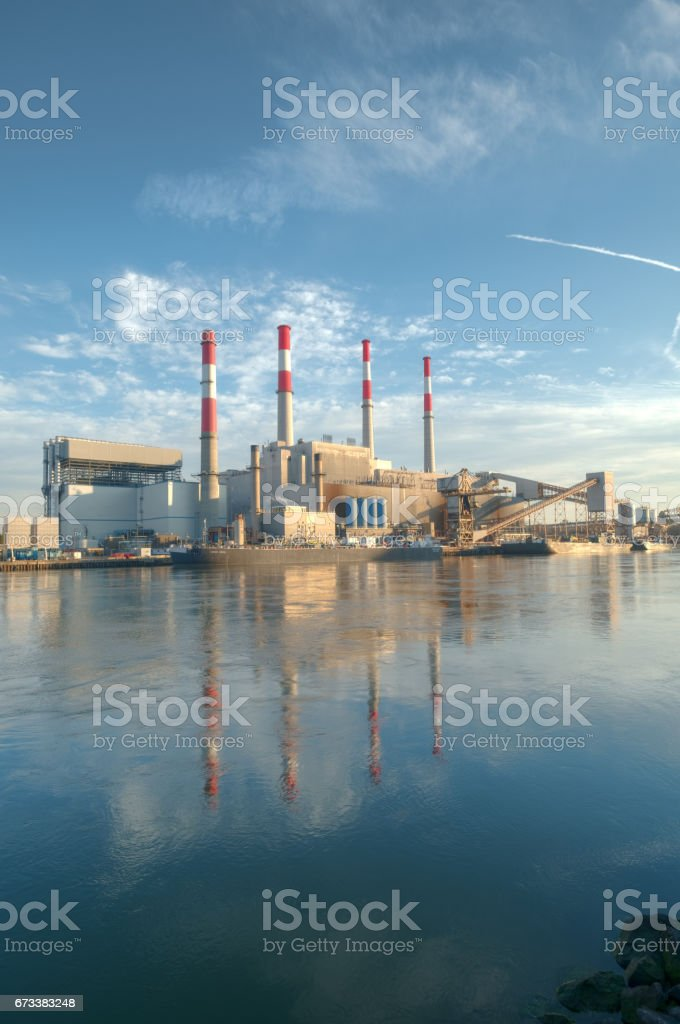 View of the industrial landscape of Long Island City in Queens from Roosevelt Island, NYC stock photo