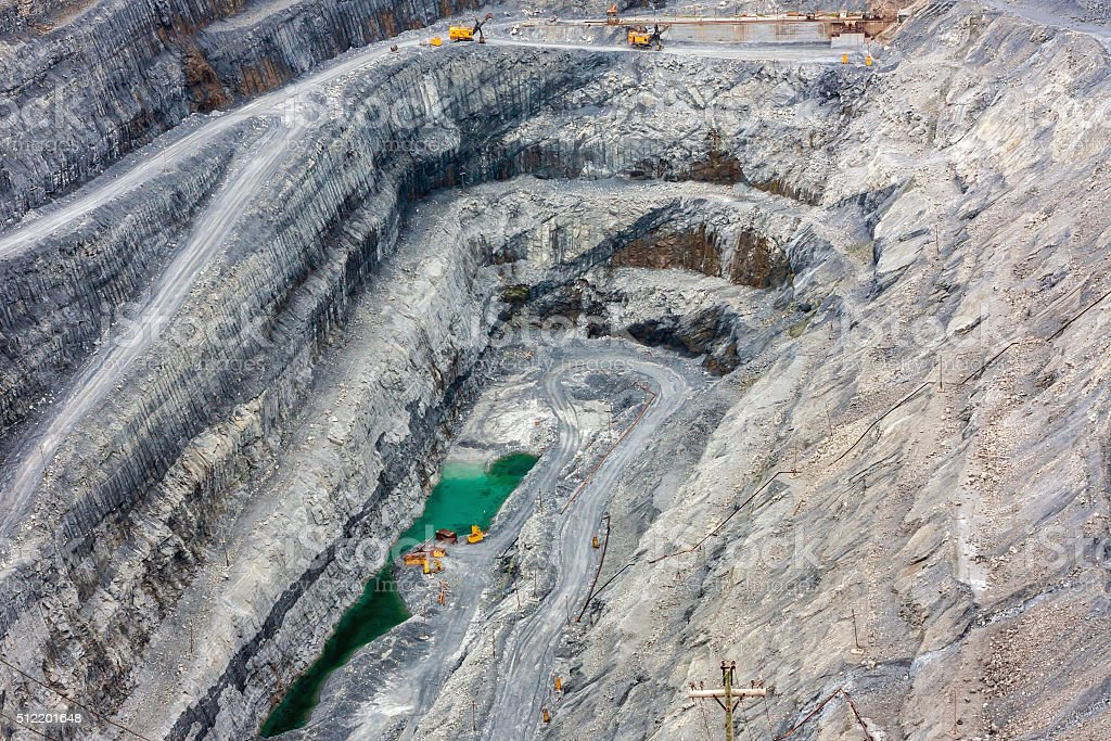 View of the inside of a deep magnesite quarry royalty-free stock photo