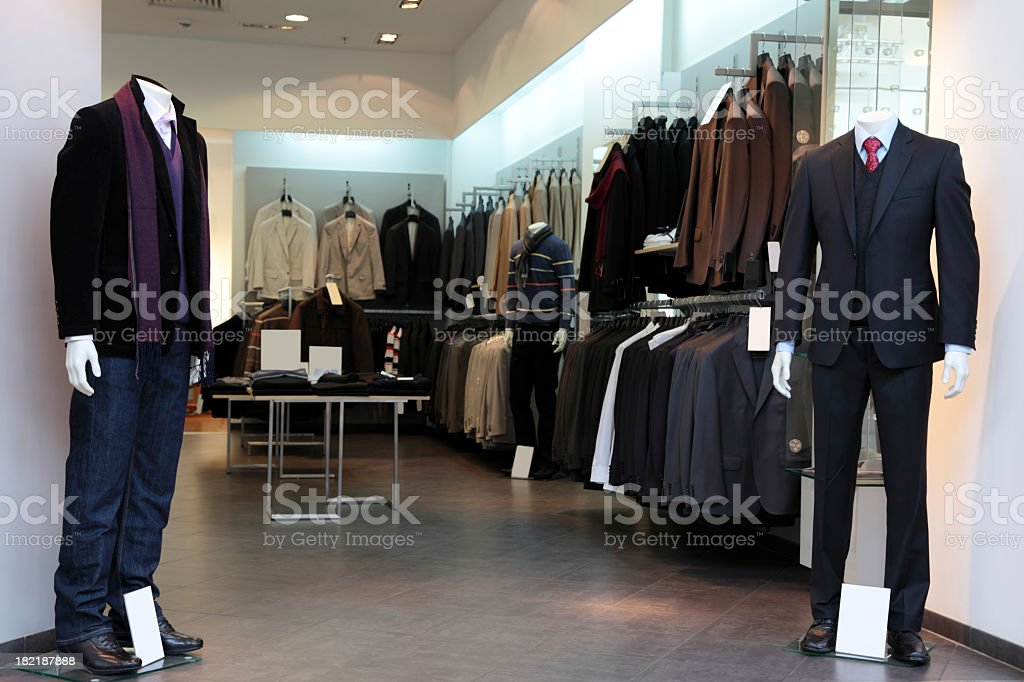 A view of the inside of a male clothing store royalty-free stock photo