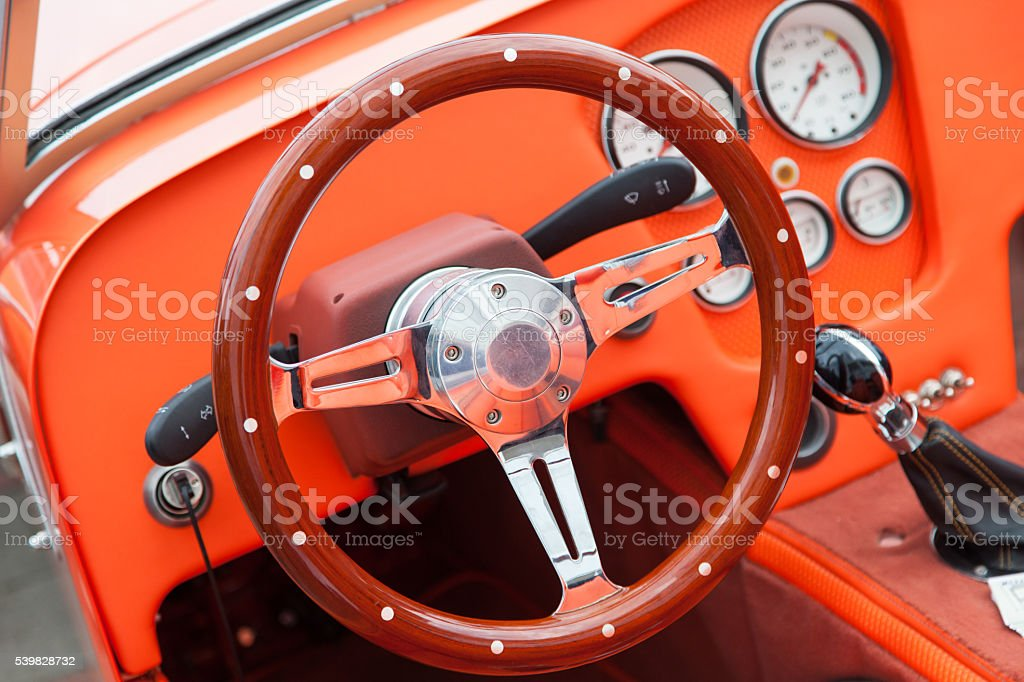 View of the interior of an old vintage car stock photo