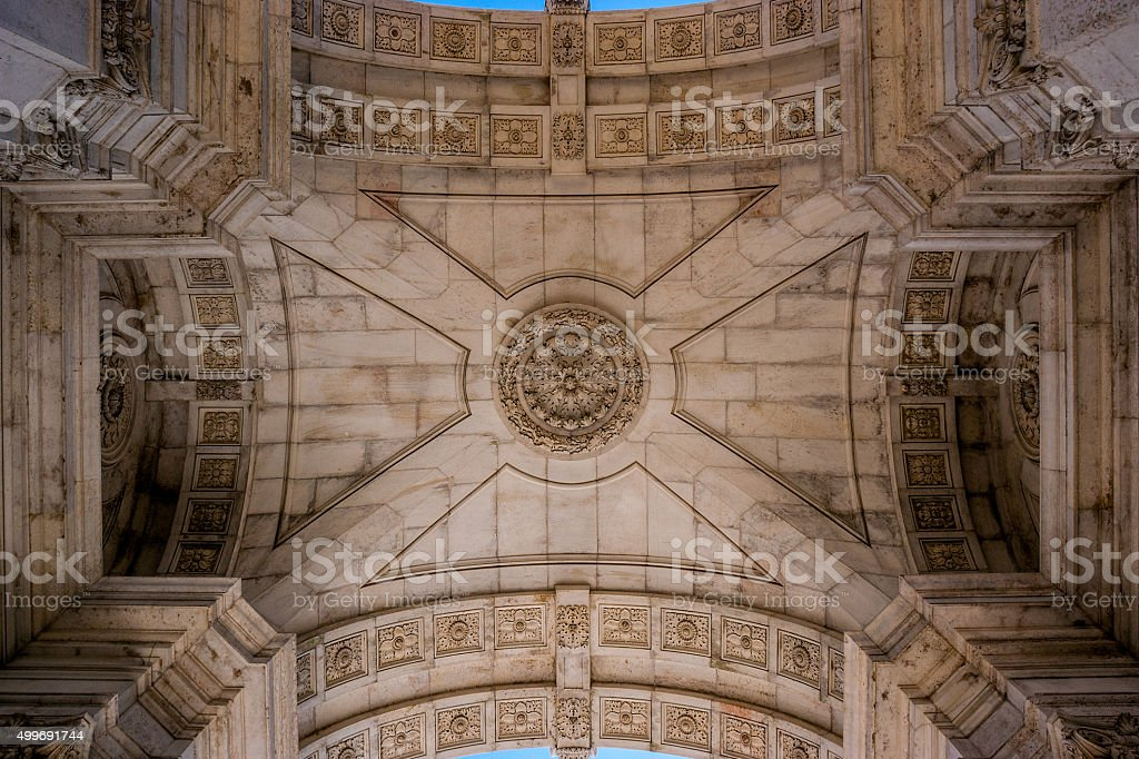View of the interior roof of the Triumphal Arch in Lisbon, Portugal stock photo