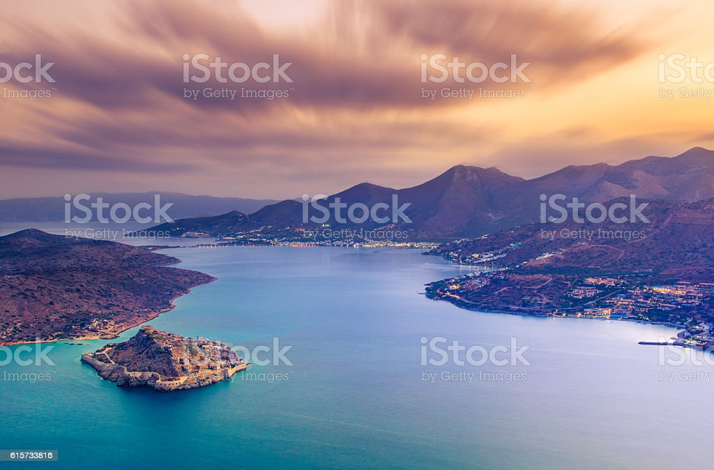 View of the island of Spinalonga, Crete. stock photo