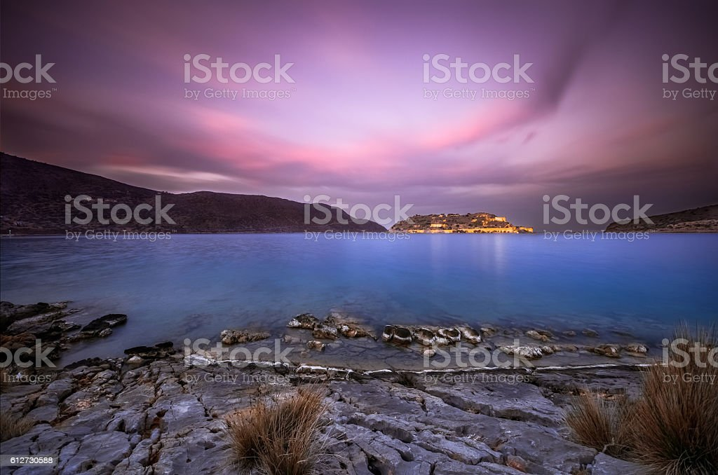 View of the island of Spinalonga stock photo