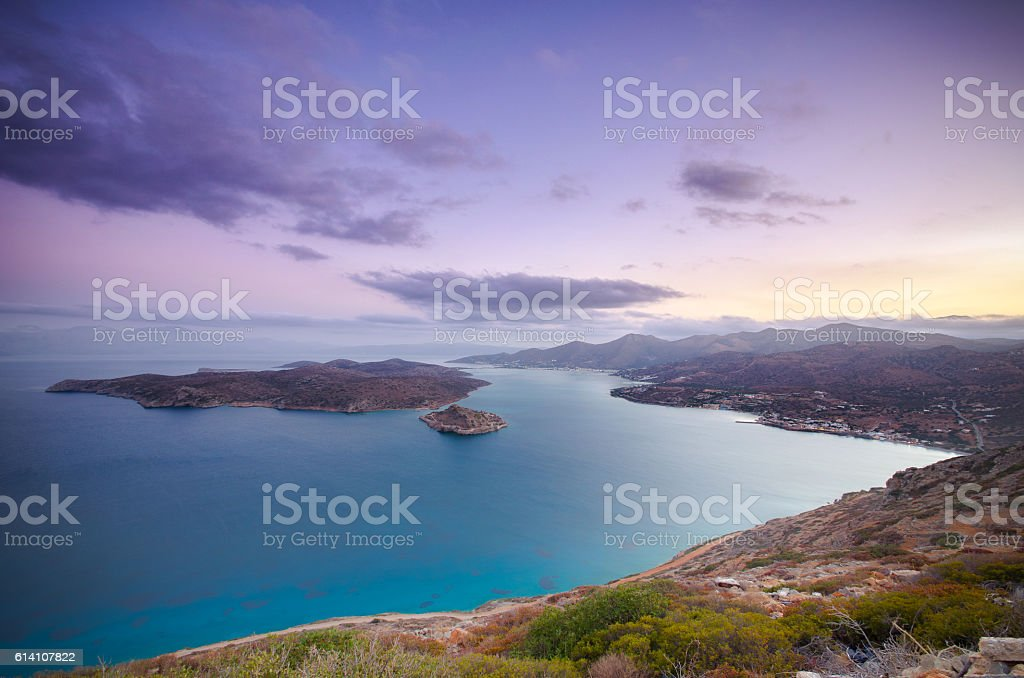 View of the island of Spinalonga. stock photo