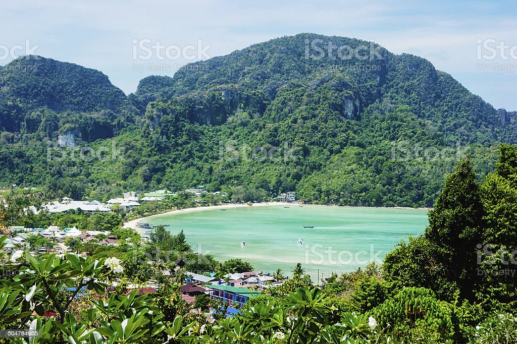 View of the island  Phi Phi Don Thailand stock photo