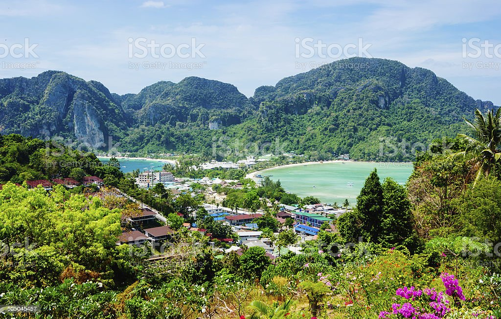 View of the island  Phi Phi Thailand stock photo