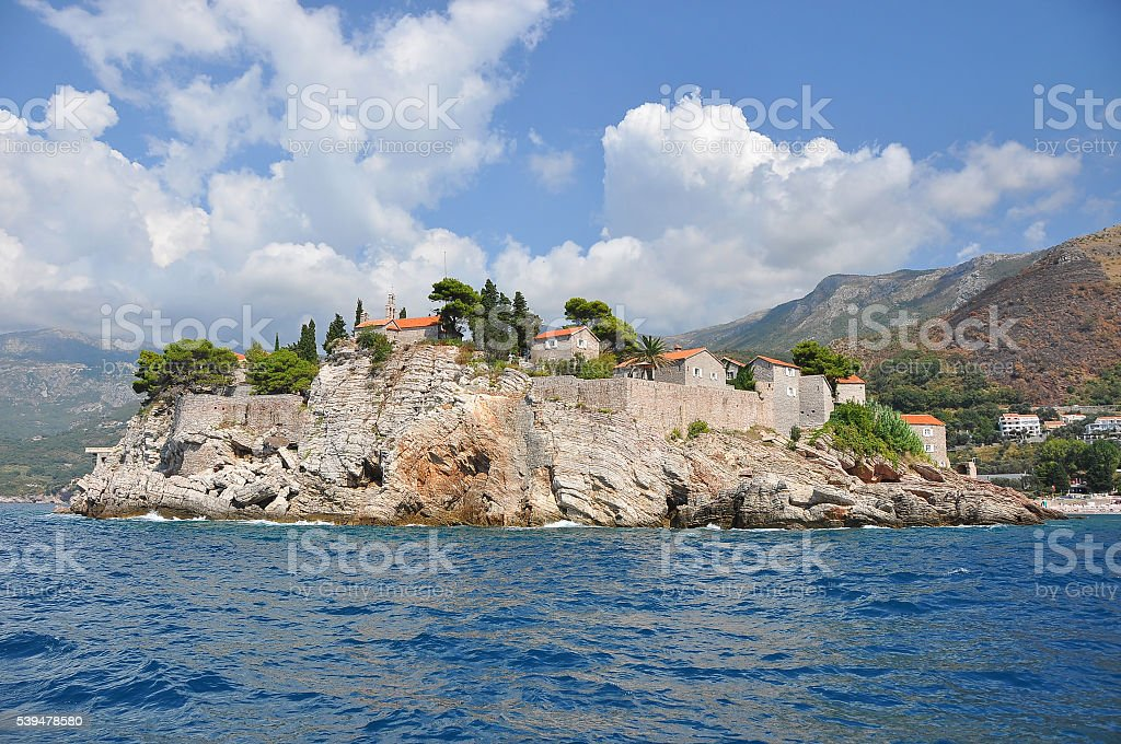 View of the island Sveti Stefan stock photo