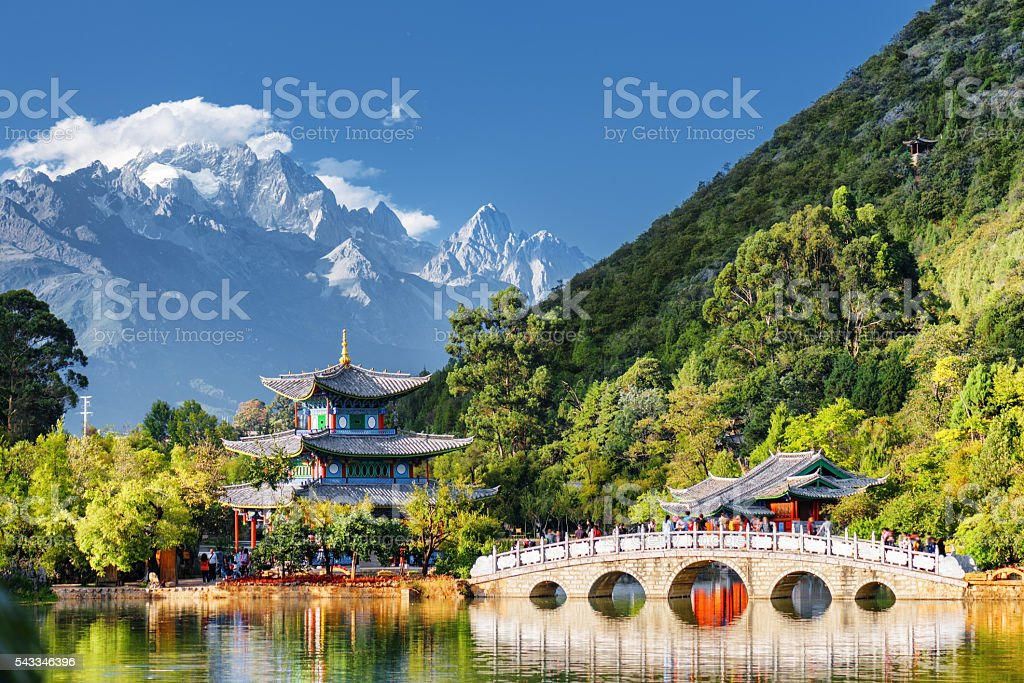 View of the Jade Dragon Snow Mountain, Lijiang, China stock photo