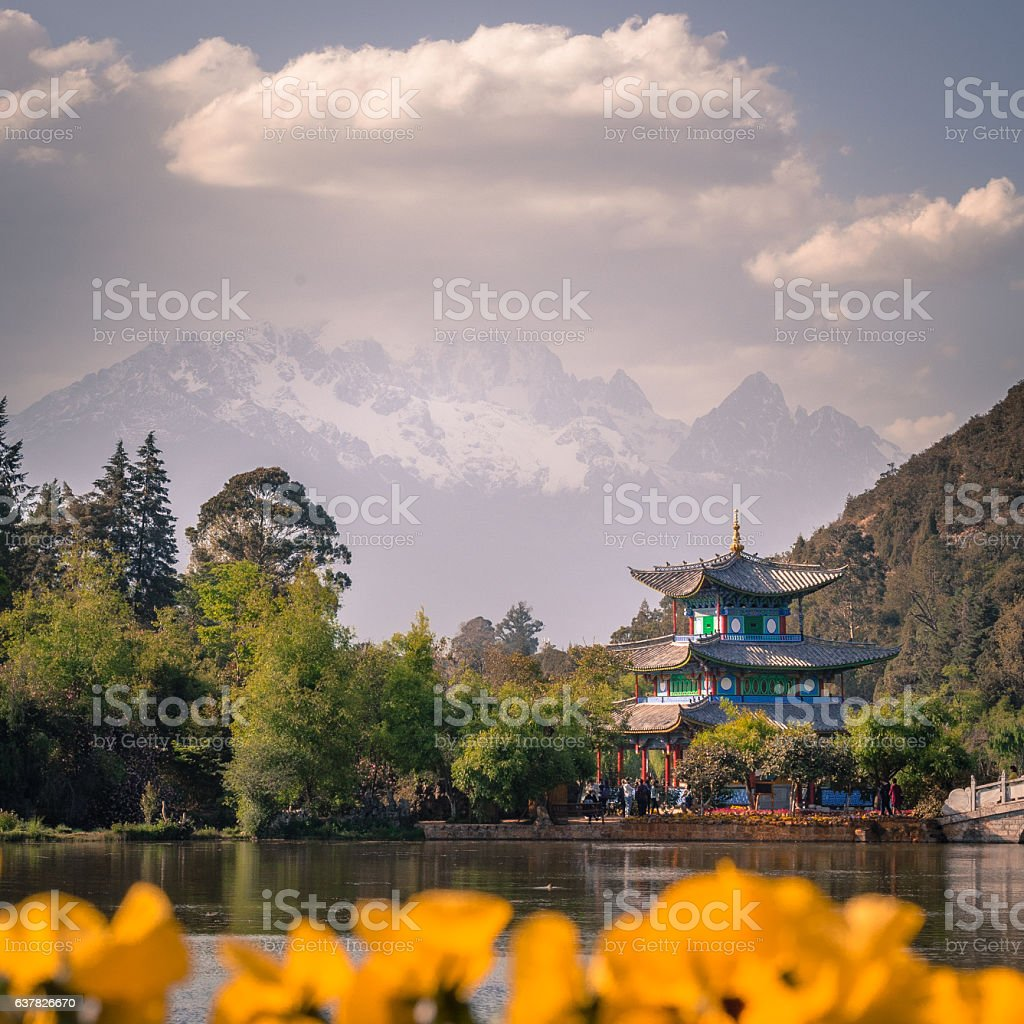 view of the Jade Dragon Snow Mountain stock photo