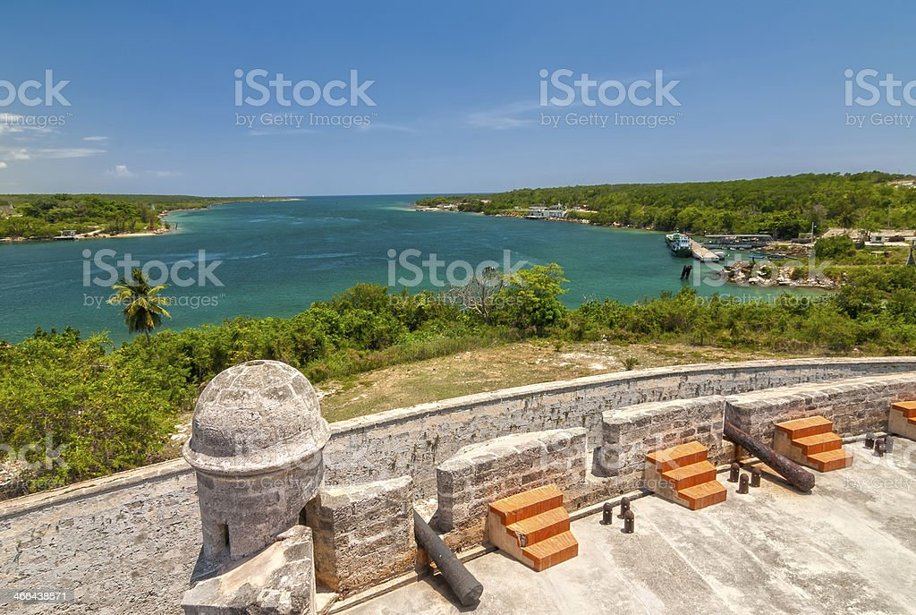 View of the Jagua fortress overlooking the Caribbean Sea stock photo