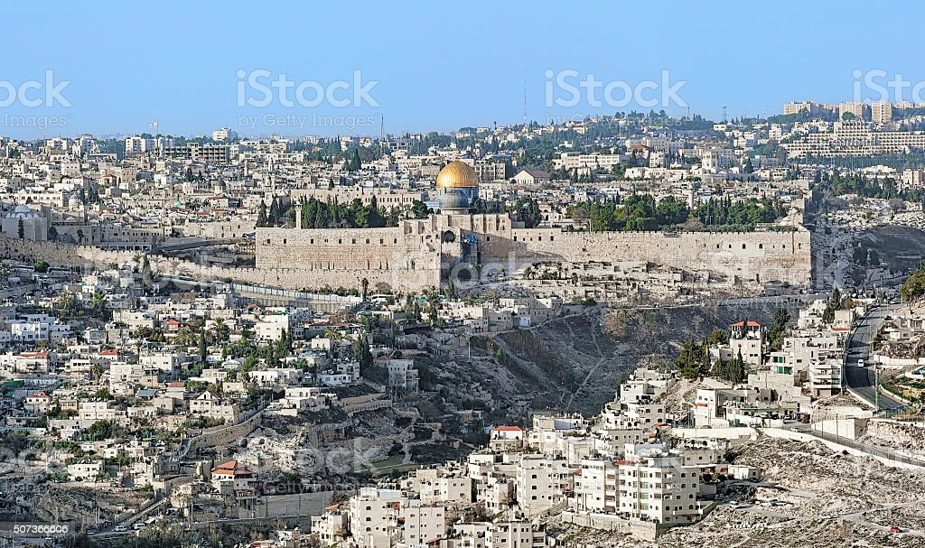 View of the Jerusalem Old City and Temple Mount, Israel stock photo
